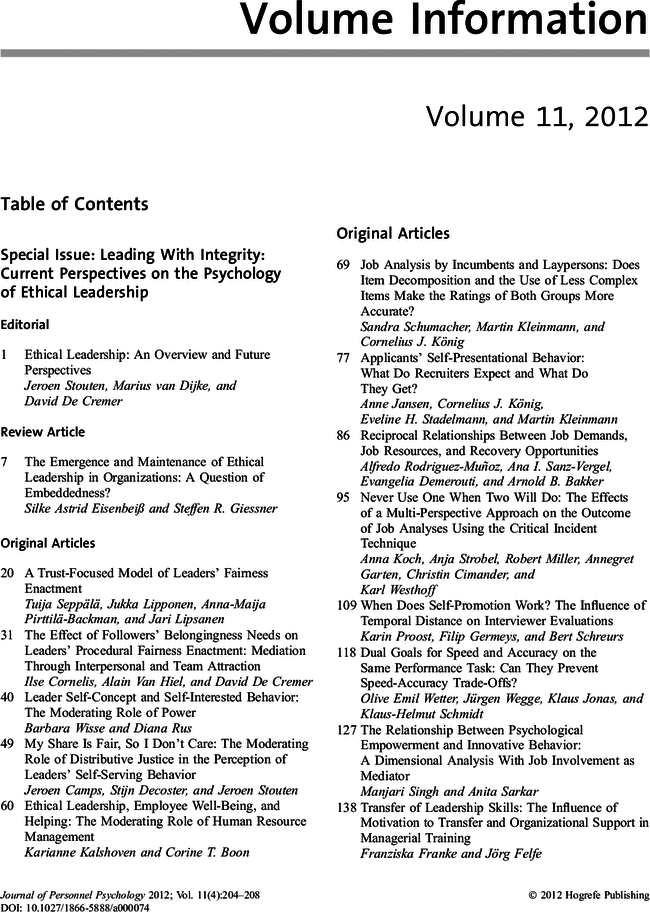 Volume 11, 2012   Journal of Personnel Psychology   Vol 11, No 4